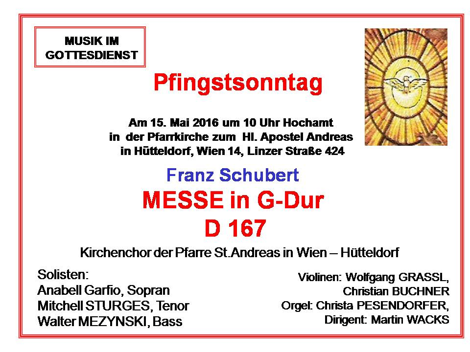 Schubert Messe Pfingsten