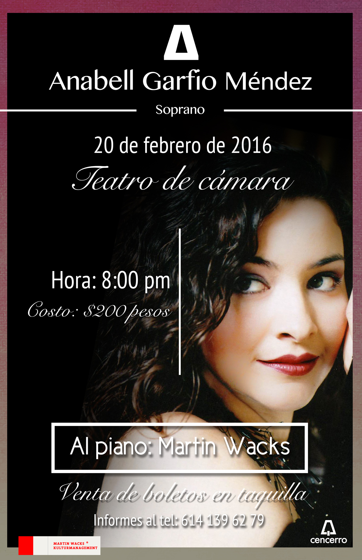 Concierto Anabell Garfio teatro de cámara en Chihuahua